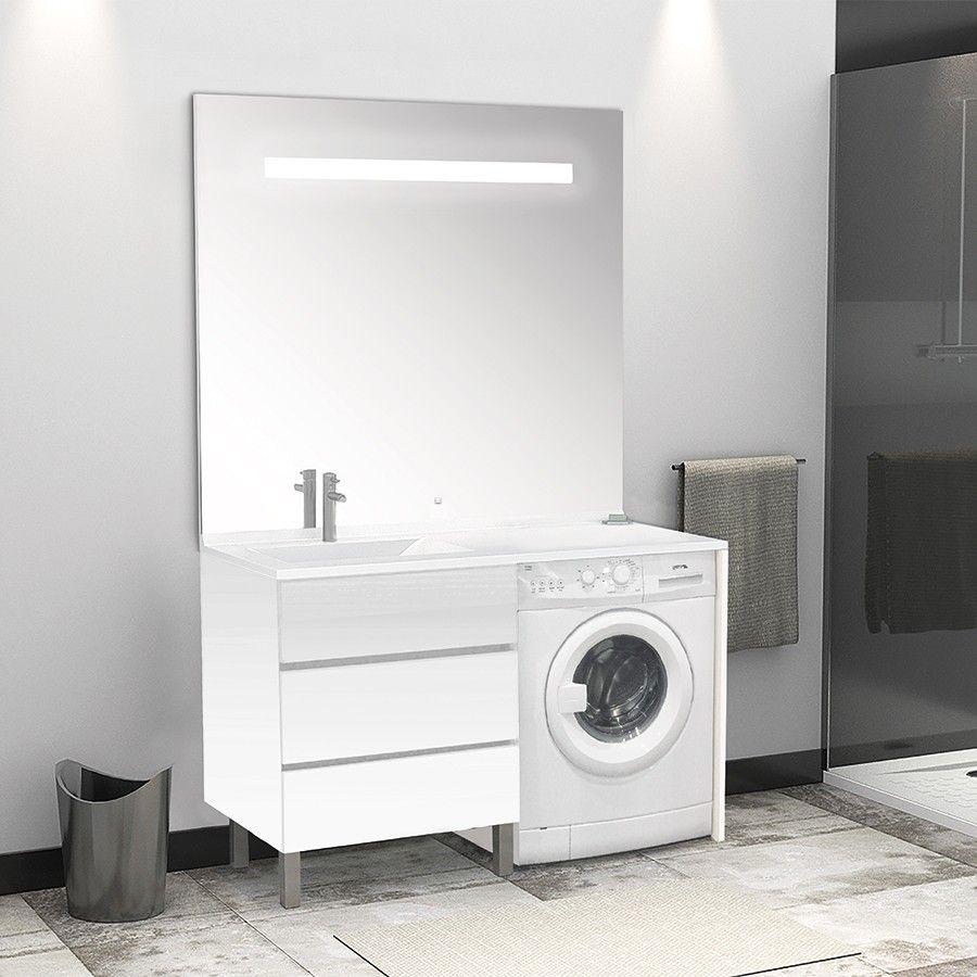 meuble spécial pour lavelinge  miroir éclairant kora