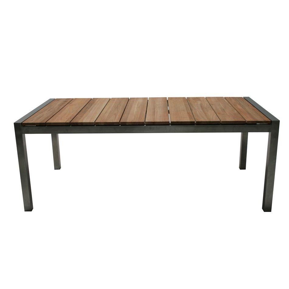 Ploß New York Gartentisch Edelstahl/Teak 200x100cm   Metall Holztische    Tische   Gartenmöbel