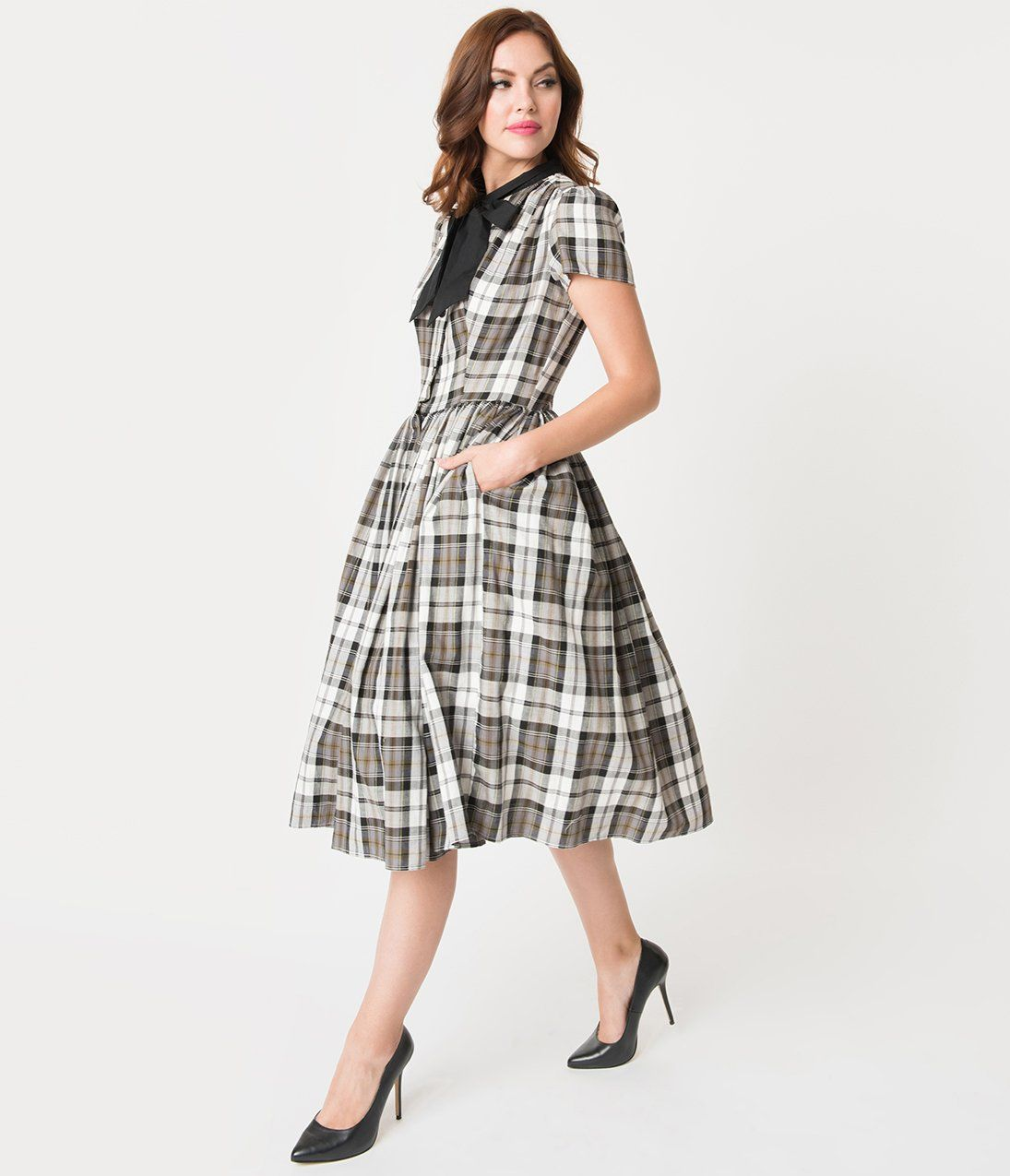 1aa83ca53dc9 Unique Vintage 1950s Style Grey Plaid Button Up Swing Dress