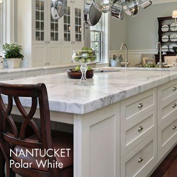 White Cabinets White Marble Sea Glass Green Walls Windowed