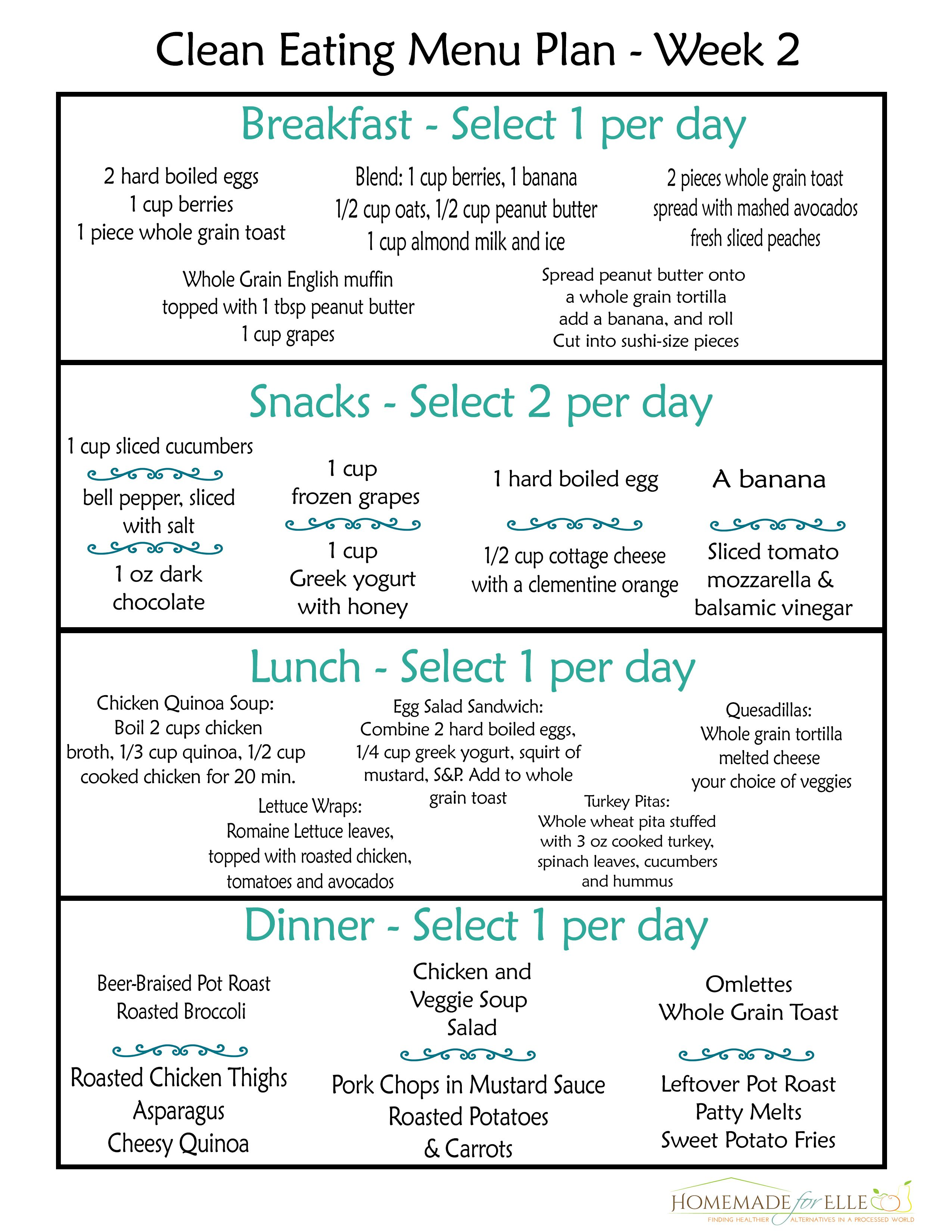 Clean Eating 7 Day Meal Plan Free clean eating meal plan