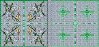 dragonfly and butterfly biscornu | Amanda Gregory cross-stitch design