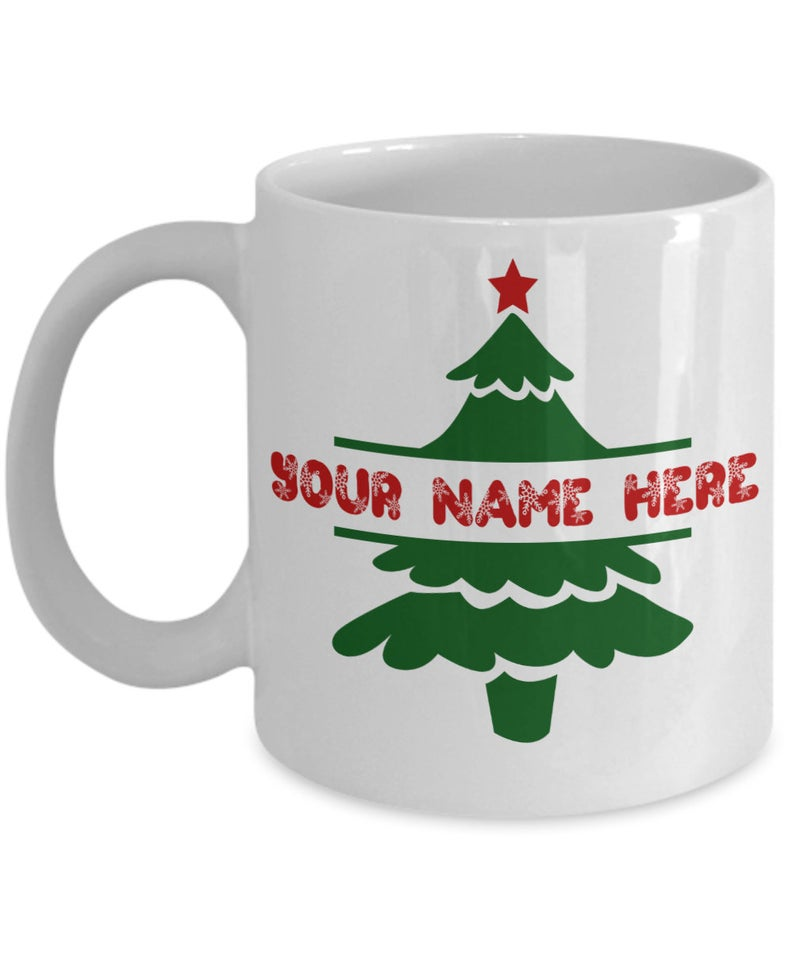 PERSONALIZED Christmas Tree Coffee Mug Red Text With ...