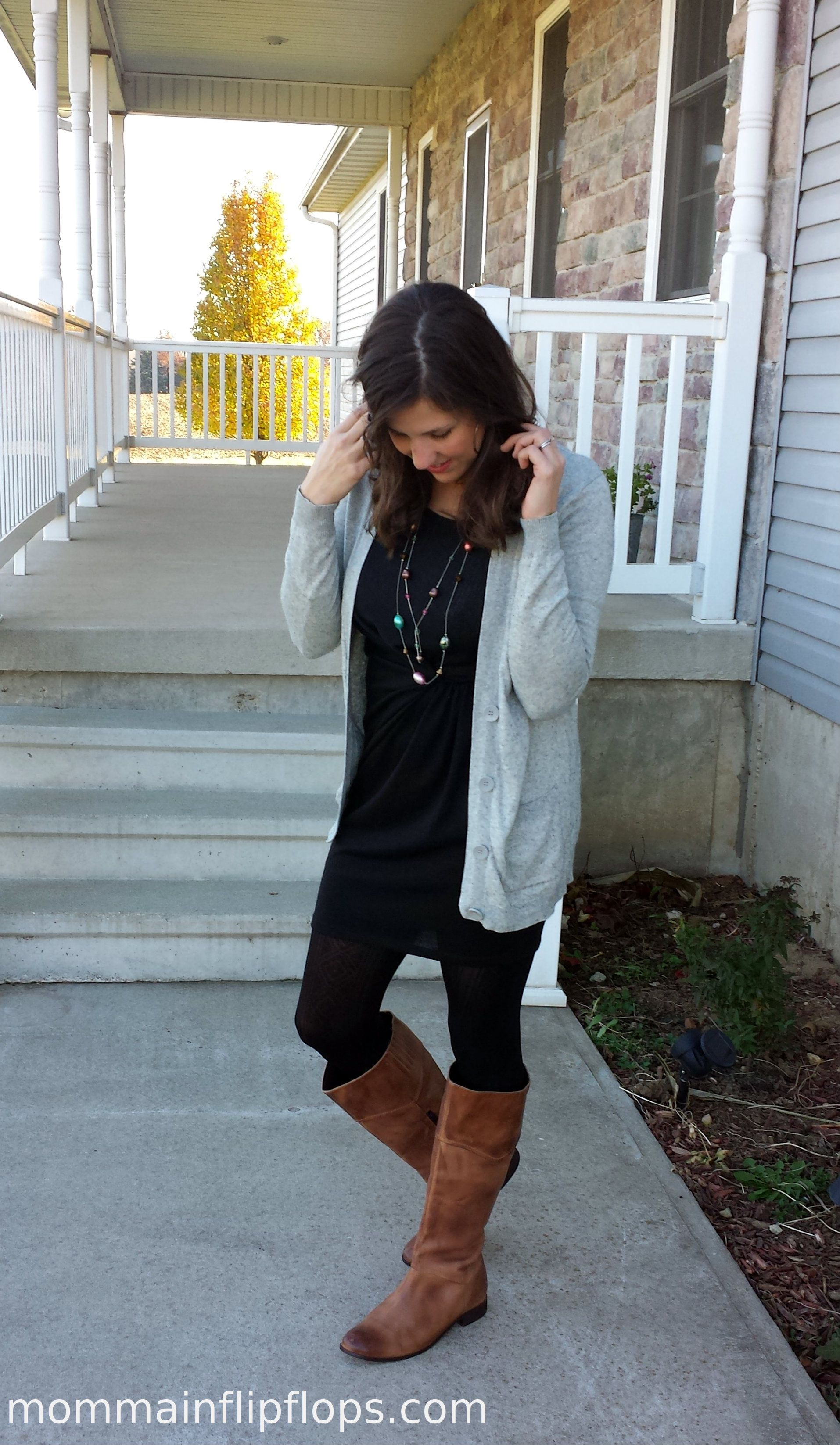 black dress   Cardigan brown riding boots | Mom Outfits ...