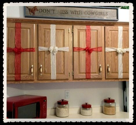 Gift wrap cabinet doors for a festive kitchen. | Cabinet ...