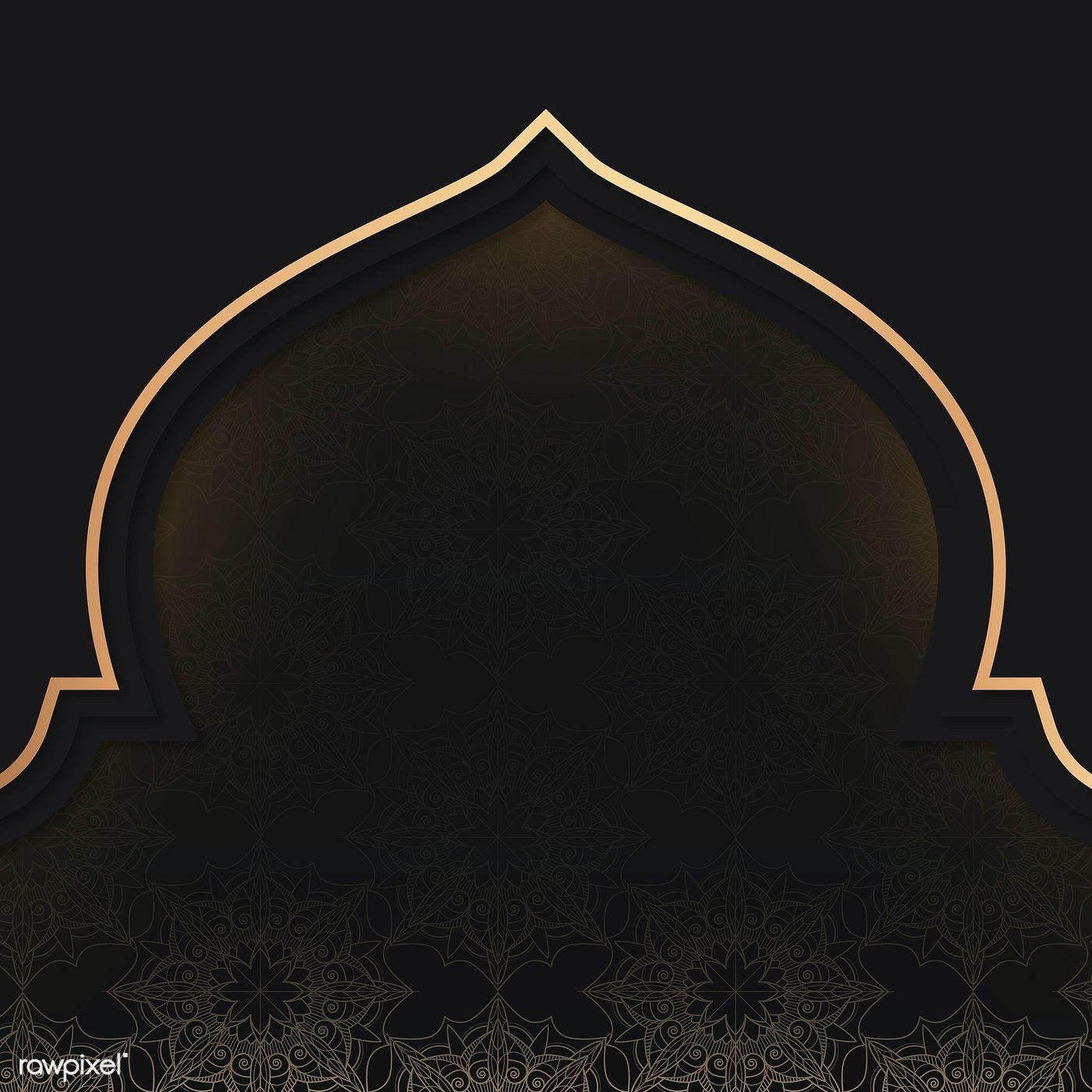 Golden Eid Mubarak Frame Design Vector Free Image By Rawpixel Com Aew Desain Banner Kartu Desain