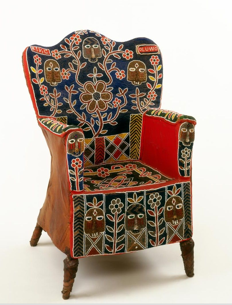 Africa Leather covered chair embroidered with glass