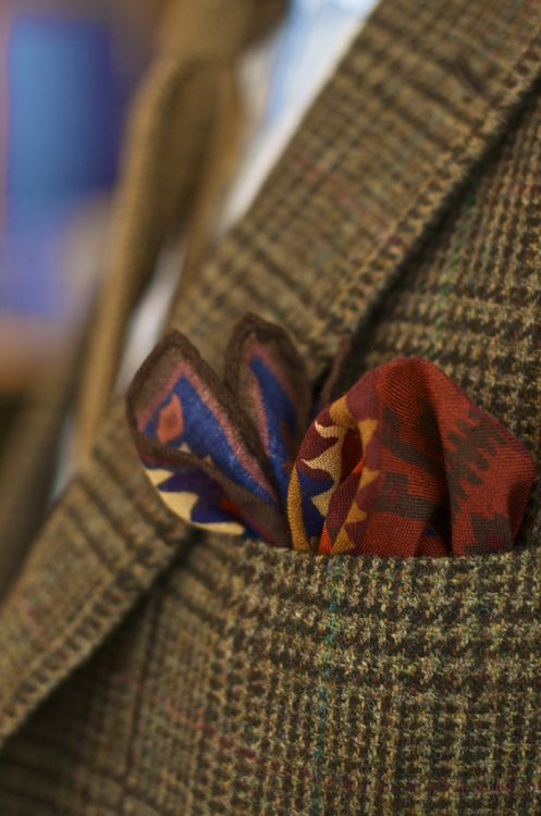 Kelim Pocket Square worn by BWS New AW13 designs in store at No.3 Clifford St