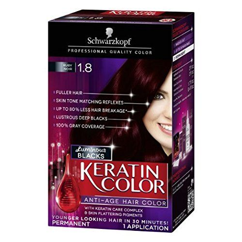 Schwarzkopf Keratin Hair Color Luminous Blacks 1 8 Ruby Noir Pack