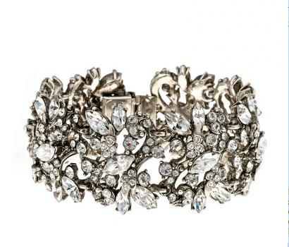 Ben Amun - Wide Floral Crystal Bracelet
