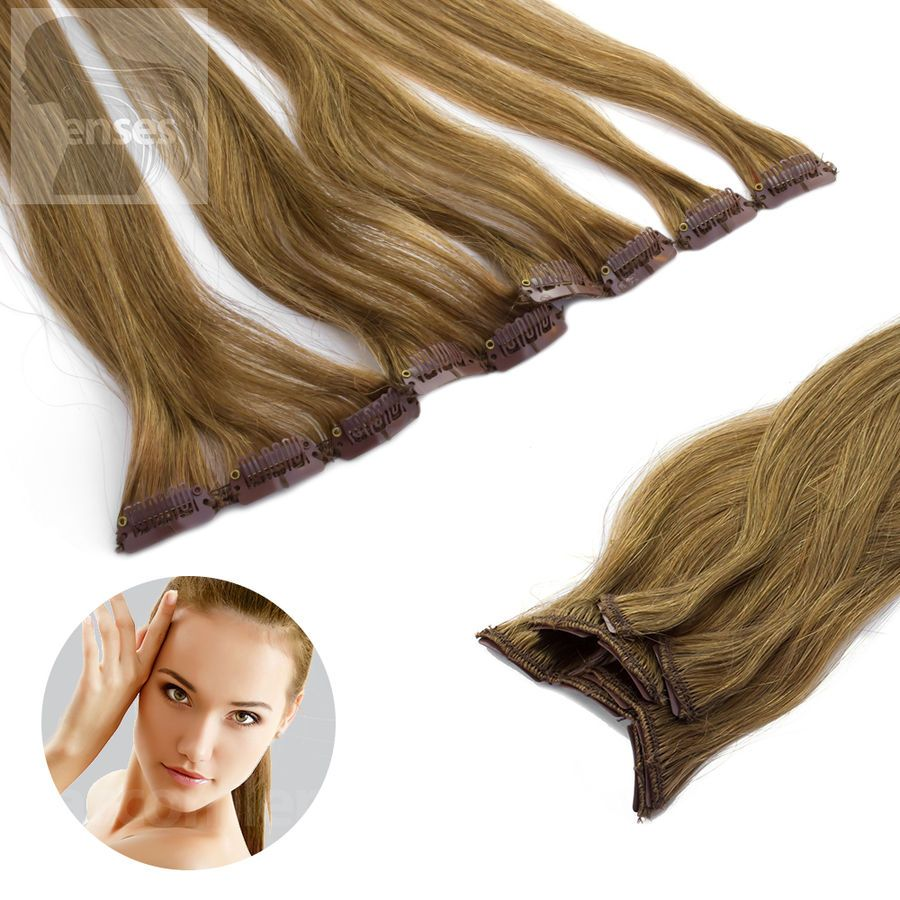 Details about Clip in Extensions Clip on Hairpieces 45 cm