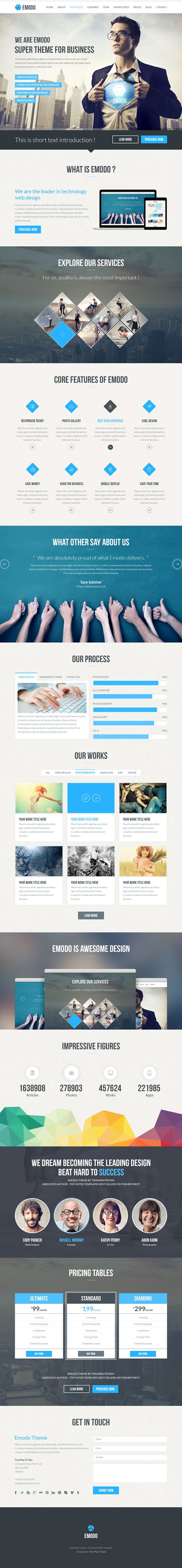 Emodo premium one page business psd template website inspiration emodo premium one page business psd template flashek Images