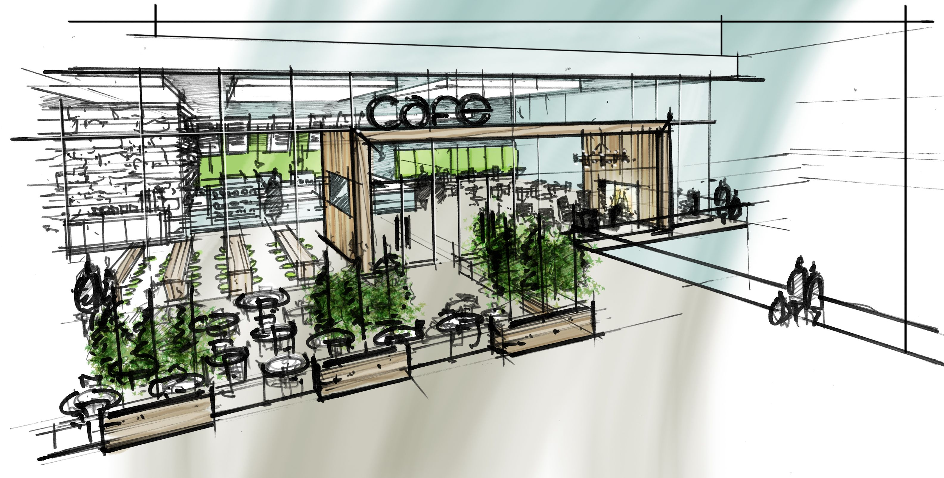 Cafe Concept - Quick conceptual sketch of a cafe on the water ...