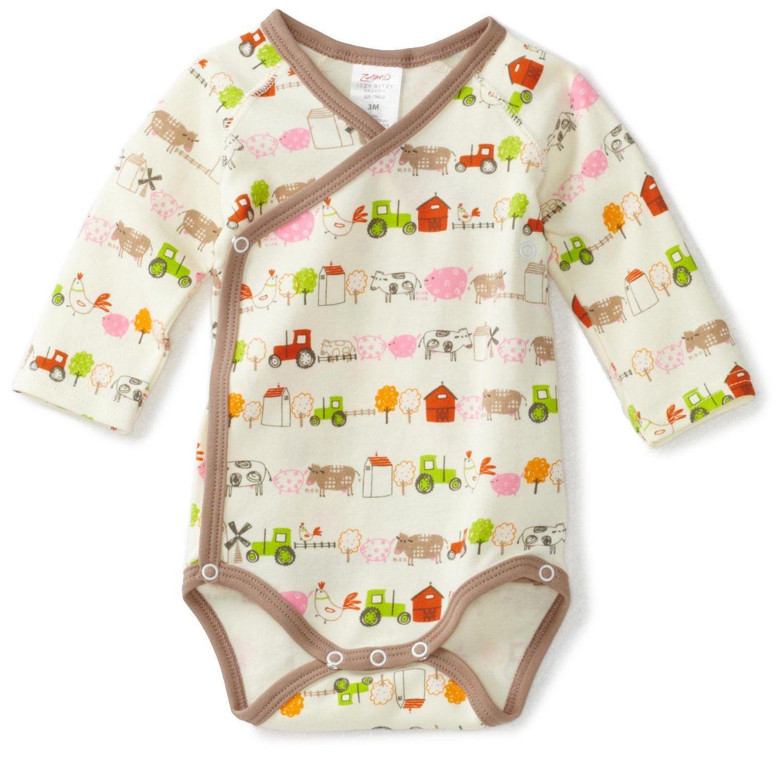 Zutano Baby Girls Newborn Little Farm Organic Long Sleeve Body Wrap