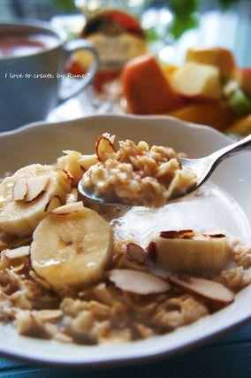 8分♪バナナ&メープルのホットミルクオートミール|レシピブログ