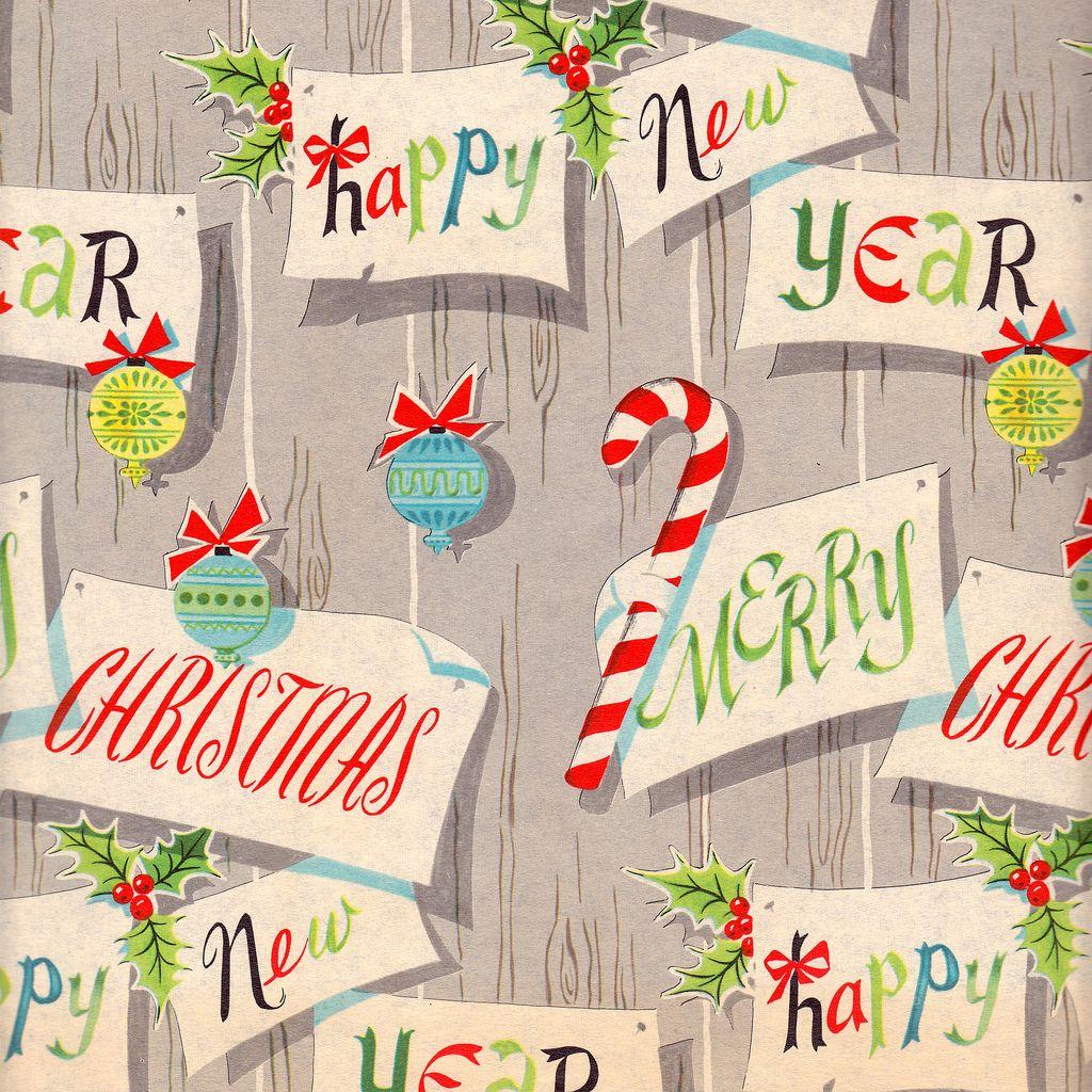 Festive paneling - Vintage Christmas Wrap 1940s | Vintage ...