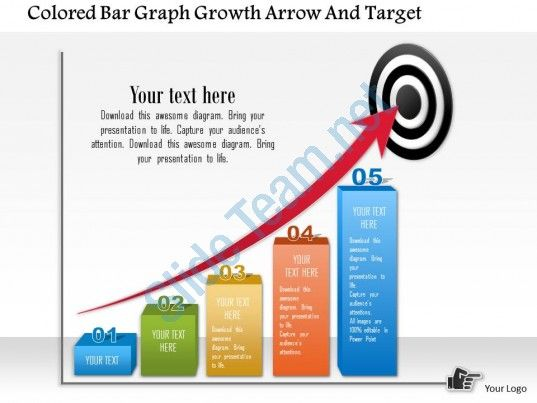 0115 Colored Bar Graph Growth Arrow And Target Powerpoint Template