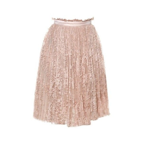 Alexander McQueen Pleated lace skirt (£1,045) ❤ liked on Polyvore featuring skirts, light pink, pleated skirt, lace skirt, pink pleated skirt, knee length lace skirt and light pink skirt