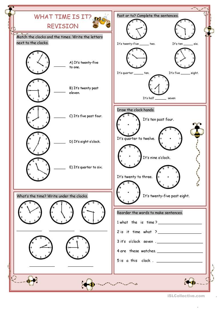 What Time Is It Revision Worksheet Free Esl Printable Worksheets Made By Teachers Time Worksheets Telling Time Worksheets English Lessons For Kids How to read hours in english