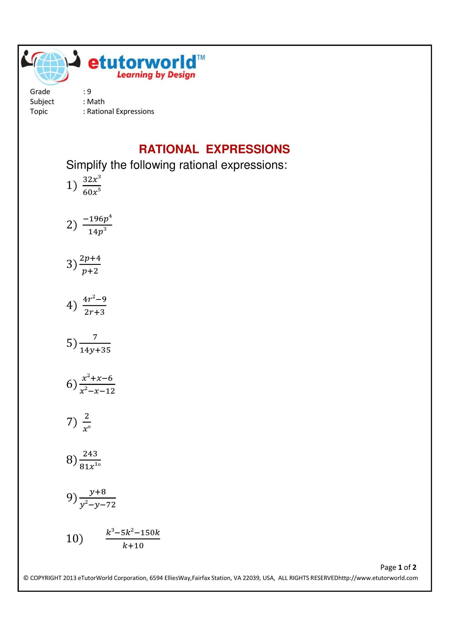 Multiplying Rational Expressions Worksheet Math Practice