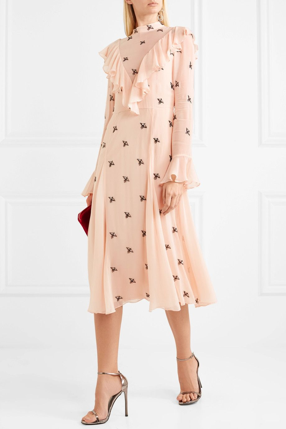 Starling Ruffled Embellished Georgette Dress - Pastel pink Temperley London 26u80