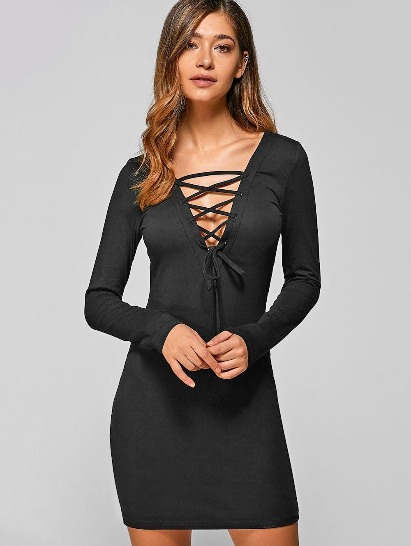 Lace up long sleeve lace mini bodycon dress black s