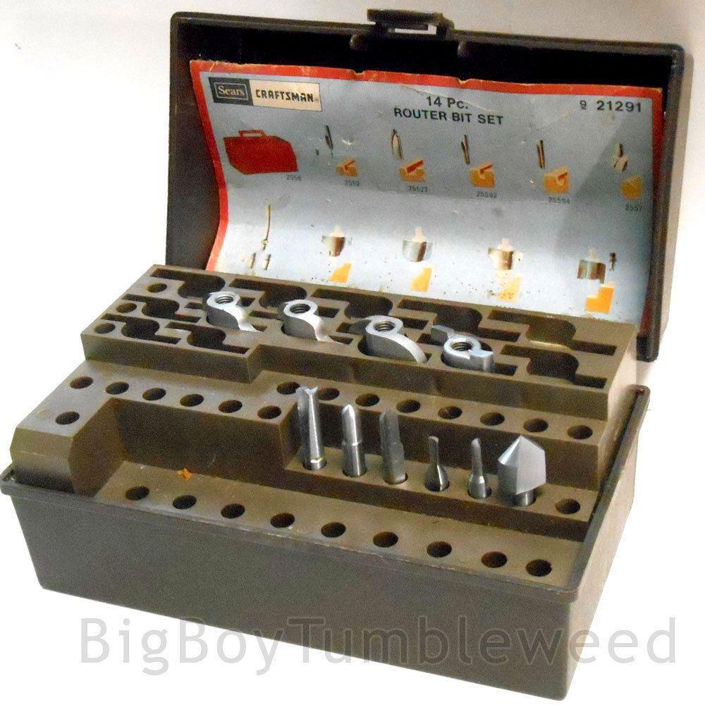 VINTAGE brown Craftsman drill bit set holder box Router bits power ...