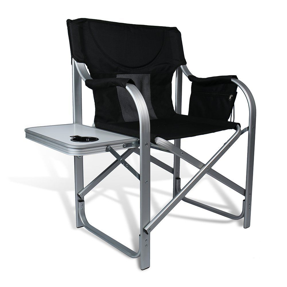 High Comfort Padding Director Aluminum Folding Chair With Armrest Cup  Holder By JandD Outdoor Depot *