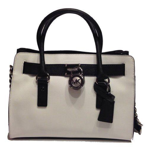49d3094fe792 Michael Kors Hamilton EW Satchel Optic White/Black Colorblock Saffiano  Leather