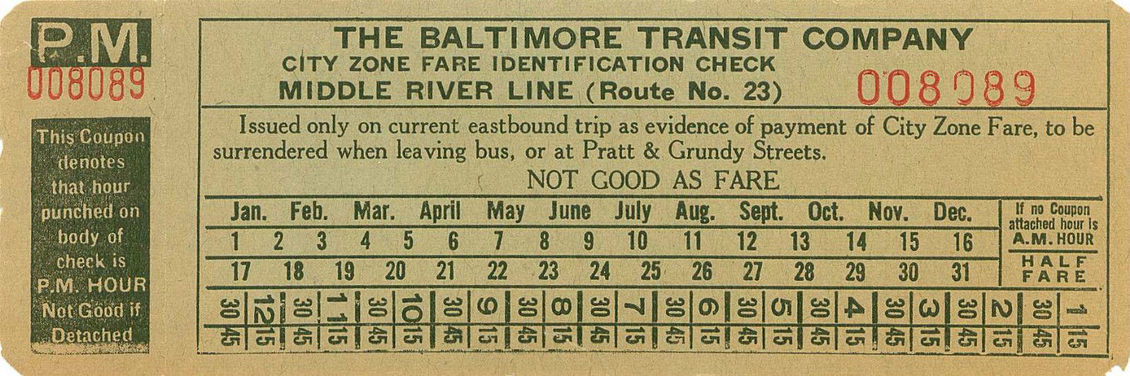 Zone check from Baltimore (Maryland) Transit Company (ca