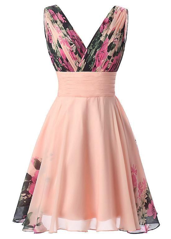 comprar Moda floral de la gasa con cuello en V A-Line Vestidos de ...