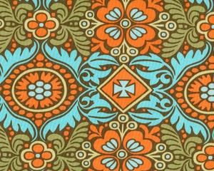 Patchworkstoff BELLE KASHMIR, dekoratives Ornament-Blüten-Muster, orange-helles türkis
