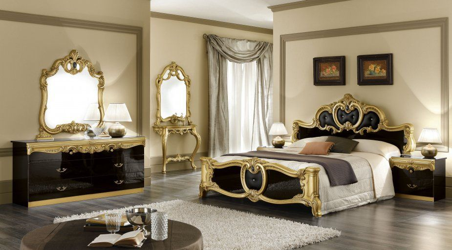 Luxury Bedrooms Black And Silver Royal Bedroom Set