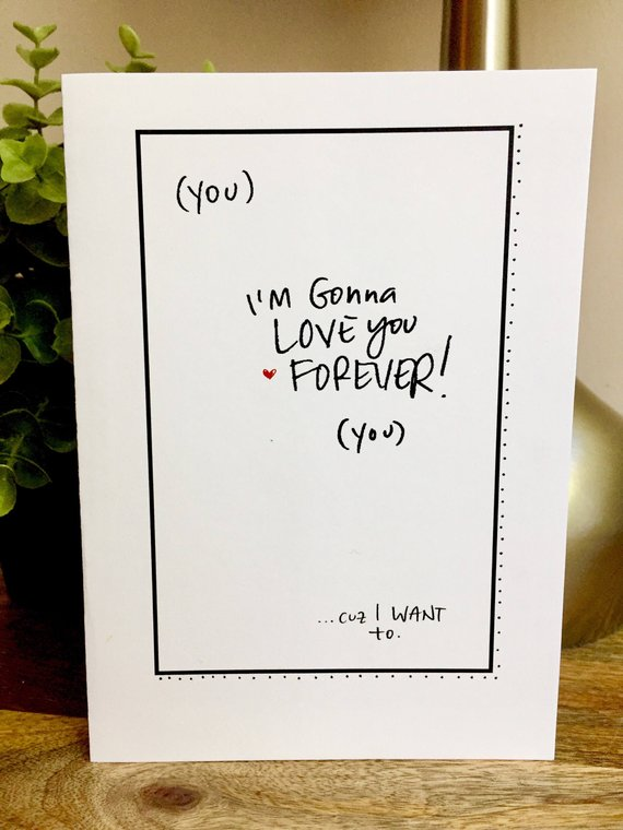 I Will Love You Forever Card One Year Anniversary Card For Her