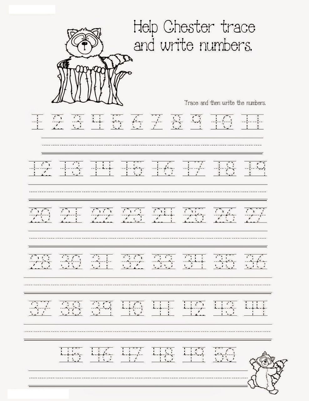 Free Tracing Numbers 1 50 K5 Education Resources The