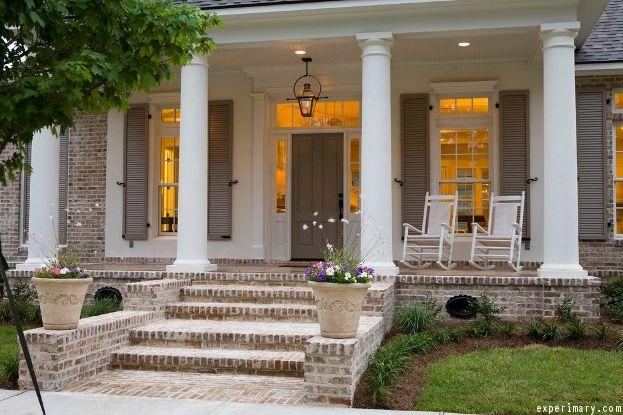 Front Porch Lighting Ideas Porch Design Brick Porch Colonial Exterior
