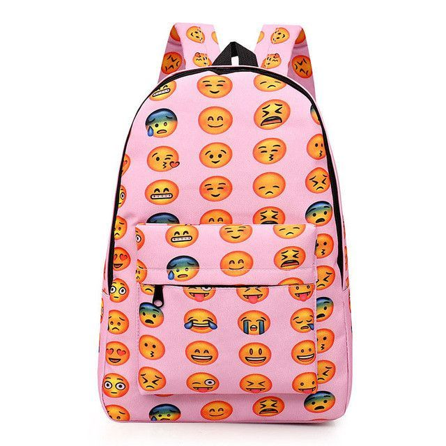 33e3d52cb4b0 New 2016 Kids Cute Emoji Printing School Bags Children Canvas Backpacks For Teenager  Girls Casual Women