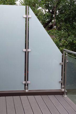 glas-edelstahl-sichtschutz transvent bis 1.800 mm höhe | terrasses, Design ideen