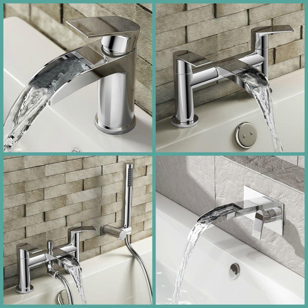 Chrome Waterfall Bathroom Tap Set Basin Mixer Bath Filler Shower Deck Taps Packs Bath Mixer Taps Bathroom Tap Sets Bathroom Taps