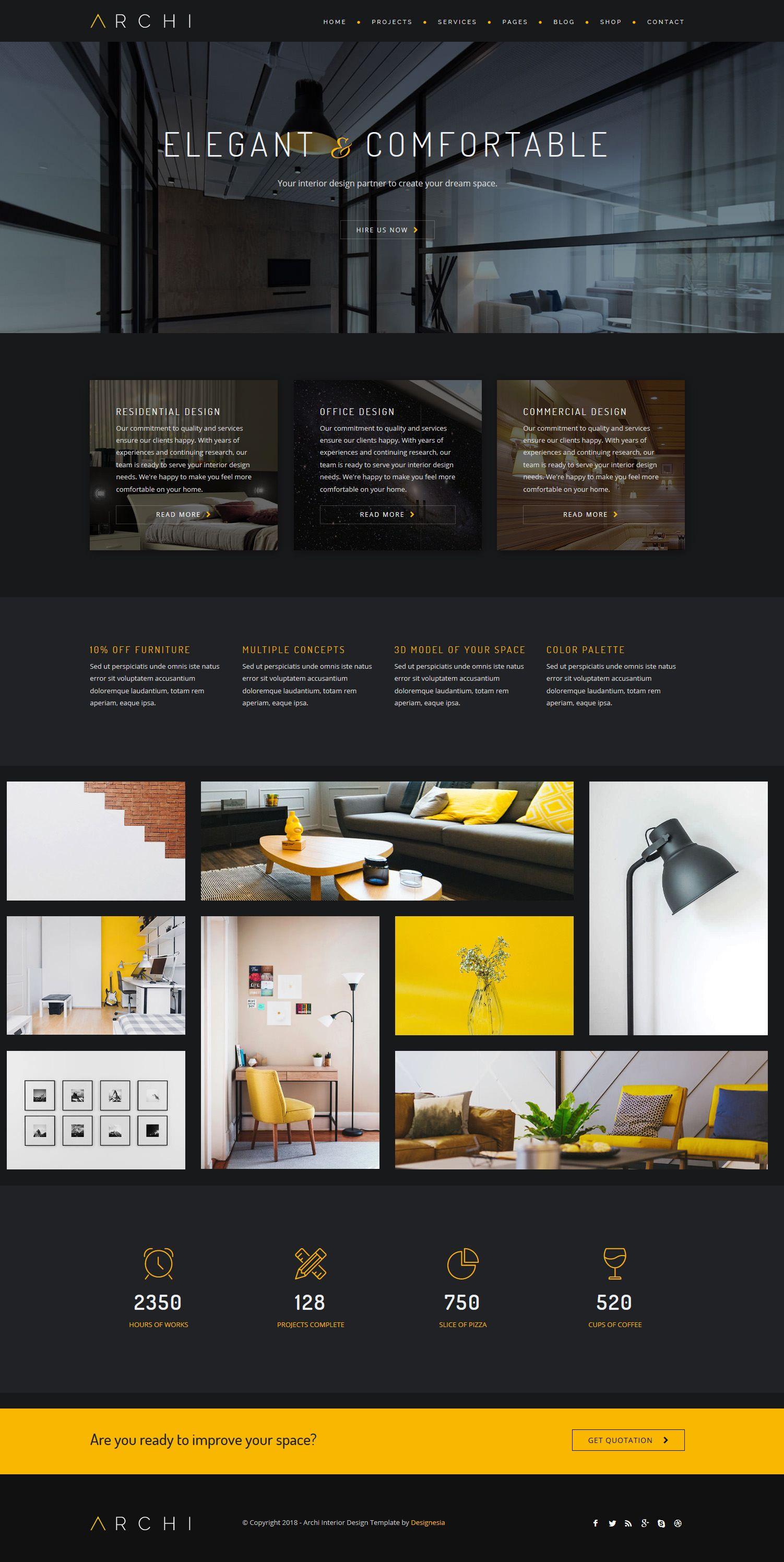 Archi Interior Design Website Template Interior Design Website Templates Interior Design Website Website Design