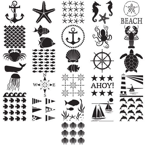 3 Pack Reusable Nautical Stencils for Paint Or Sea /& Ocean Life Animal Stencils