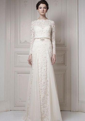 Ersa wedding dress lace long sleeves white ivory vintage style 1920s ...