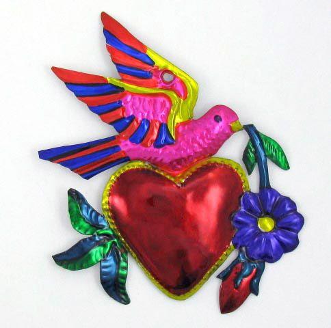 MEXICAN FOLK ART HEART W/DOVE SACRED HEART MILAGRO TIN ORNAMENT EX VOTO | eBay