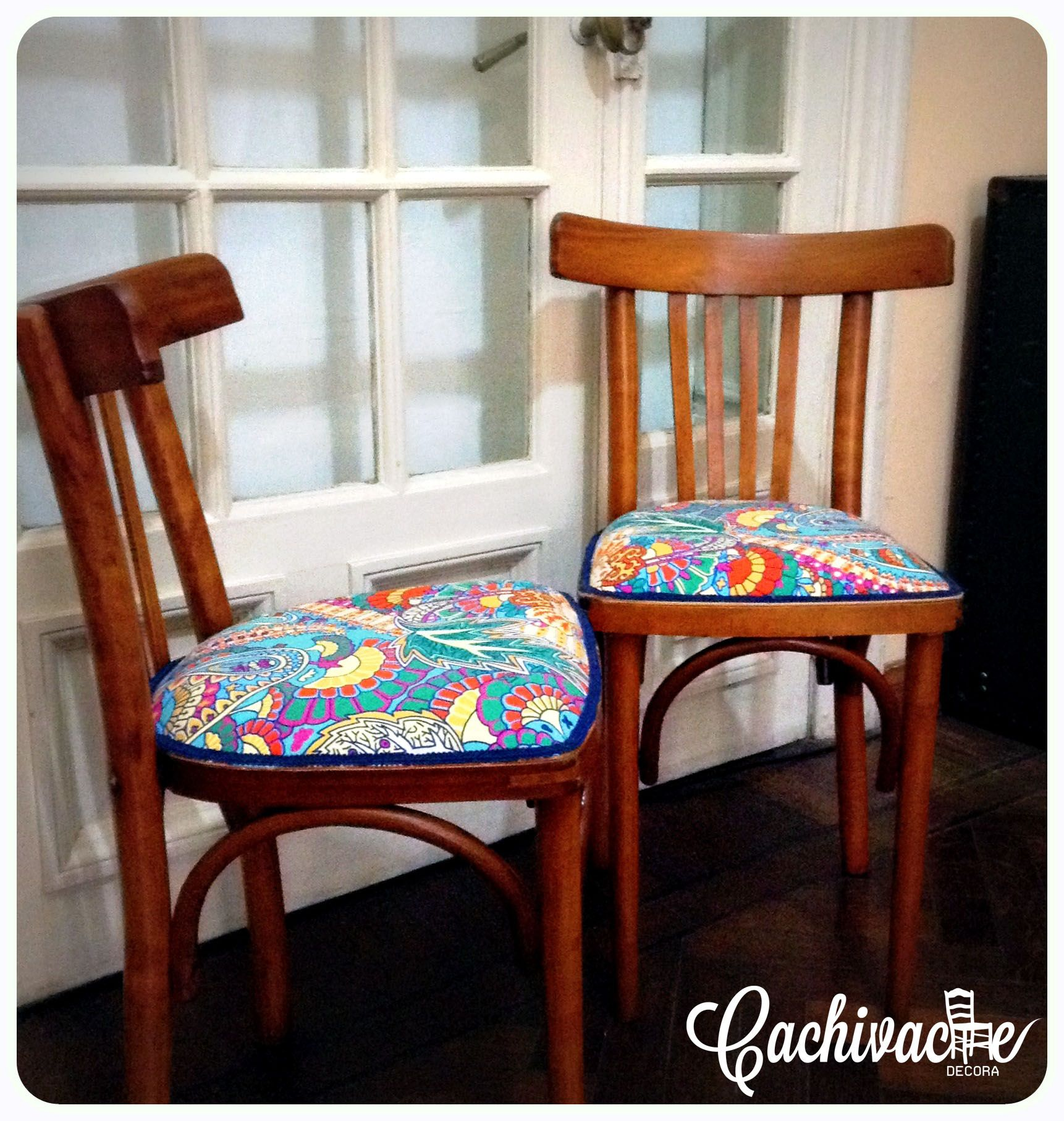 Sillas de Bar restauradas y tapizadas a nuevas | Cachivache Decora ...