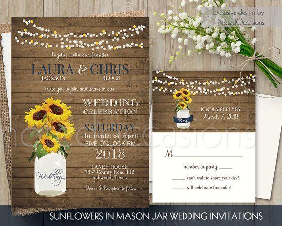 Sunflower Wedding Invitations Rustic Wedding Invitation Printable