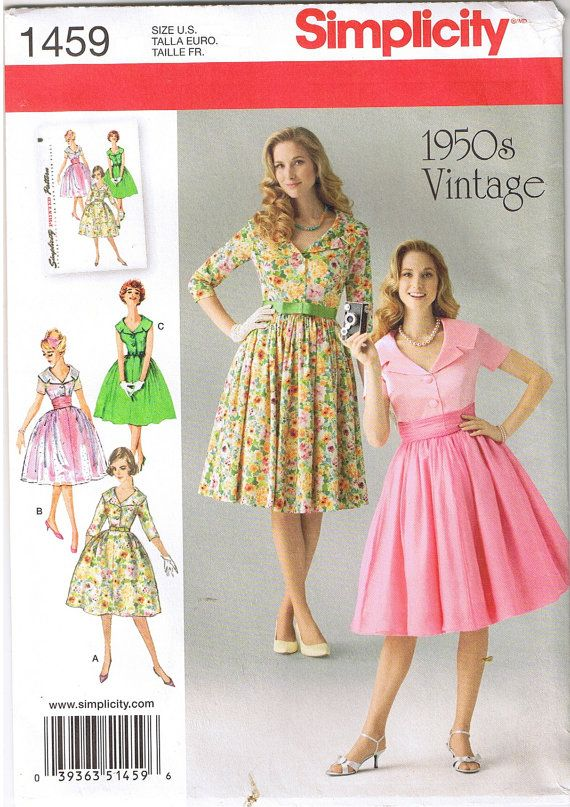 Vintage 1950s Retro Lapel Collar Rockabilly Dress Simplicity 1459 ...