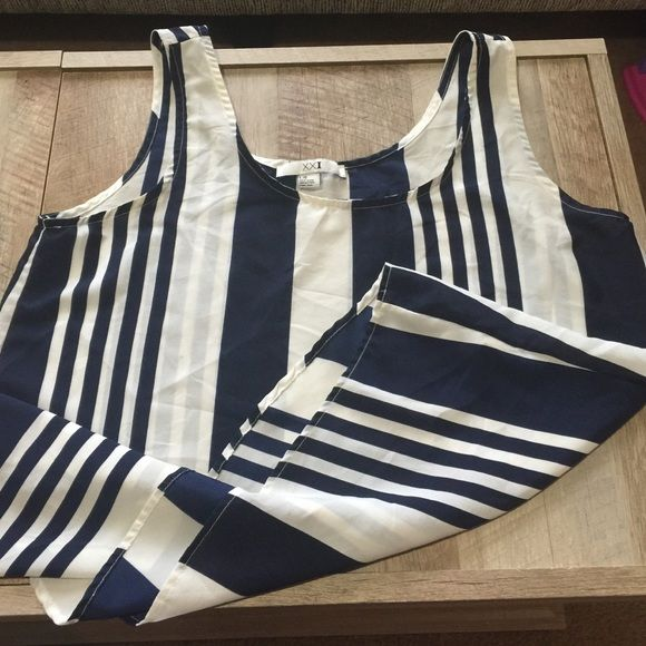 Forever 21 Large Tank Stripped Blue White L Size Large! Very pretty material! 100% polyester. Forever 21 Tops Tank Tops