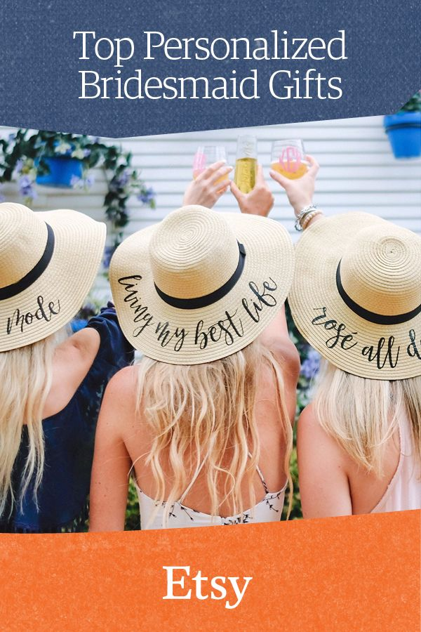 1b437884d2881 Unique bridesmaid gift idea  personalized floppy hats. Discover all things  Weddings on Etsy.