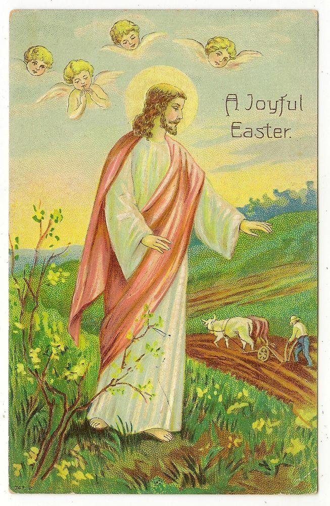 VINTAGE EASTER POSTCARD JESUS CHERUBS ANGELS SKY FARMER MAN PLOWING FIELD OXEN #Easter