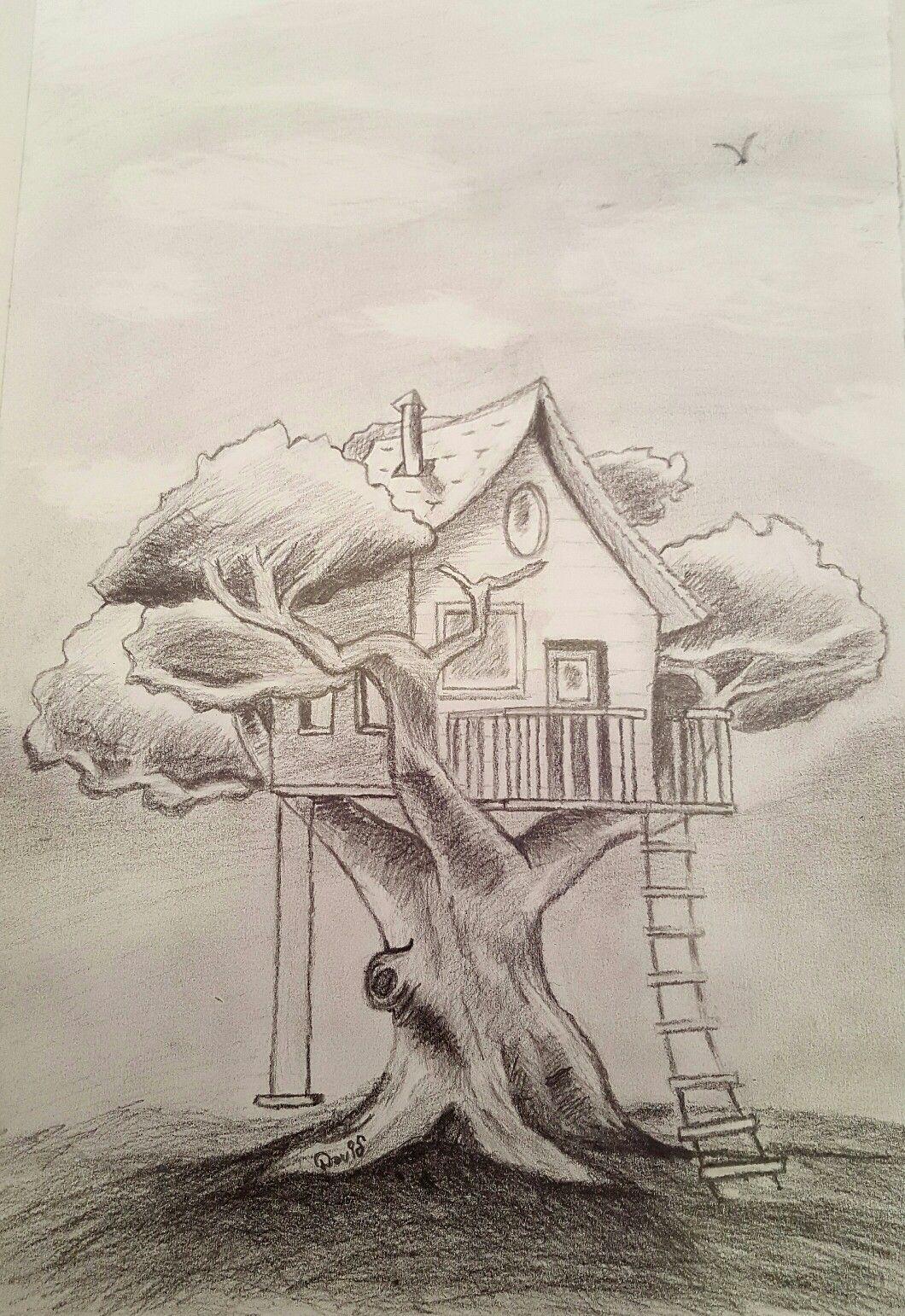 Casa En El Arbol Lapiz Mis Dibujos En 2019 Draw Art